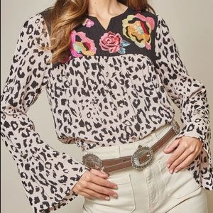 Savanna Jane Leopard Embroidered Bell Sleeve Top